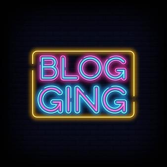 Blog neon text. progettazione moderna di tendenza del modello di progettazione dell'insegna al neon di blogging