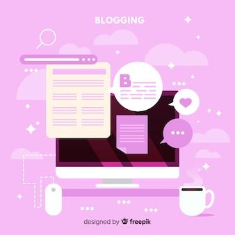 Blog social influencer sullo sfondo