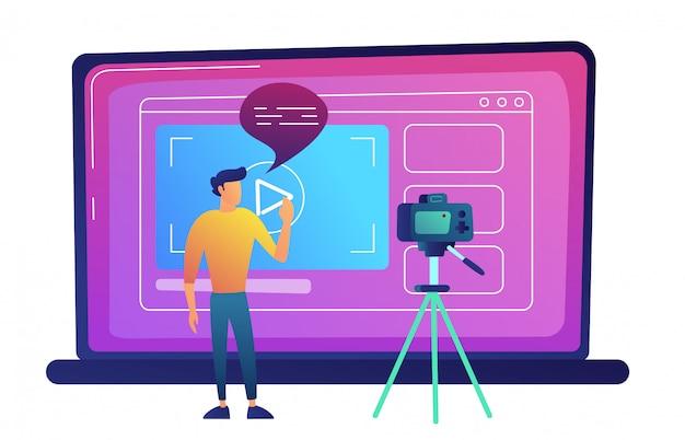 Blogger che registra video blog con la macchina fotografica per l'illustrazione di vettore di internet.