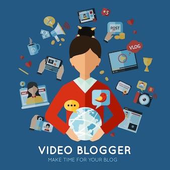 Blogger illustrazione piatta