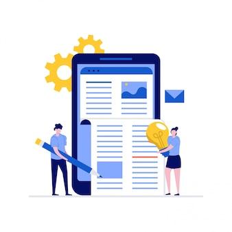 Blogging, copywriting e concetto di illustrazione di gestione dei contenuti con personaggi. persone che creano e commercializzano contenuti.
