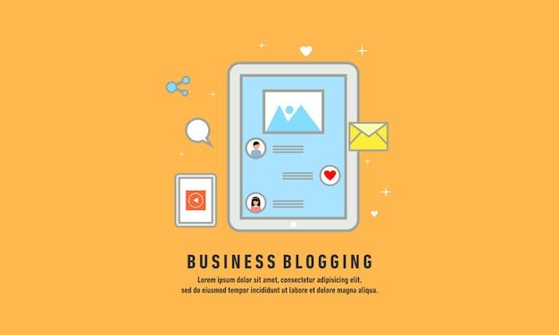 Blogging di affari, affissione commerciale del blog, illustrazione piana di vettore di progettazione di servizio di blogging di internet