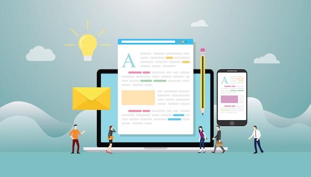 Blogging o blog concept creativo con il computer portatile e lo sviluppo di contenuti con persone del team con stile piatto moderno