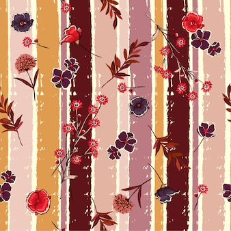 Blowing flowers on candy colorful brush stripe