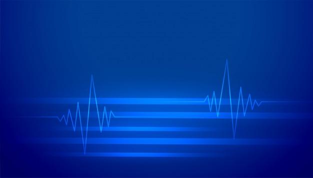 Blu astratto con linee di battito cardiaco incandescente
