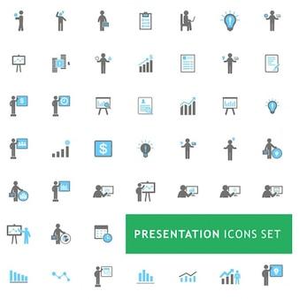 Blu e grigio presentazione dell'attività set di icone