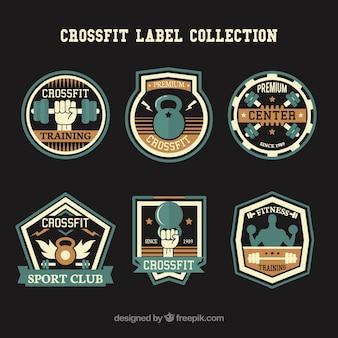 Blu e raccolta etichetta crossfit d'oro