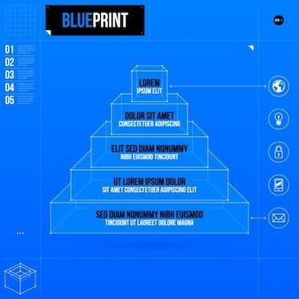 Blu infografica passo template