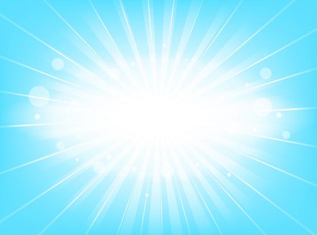 Blu luminoso dello sprazzo di sole con i raggi d'ardore di fondo astratto leggero