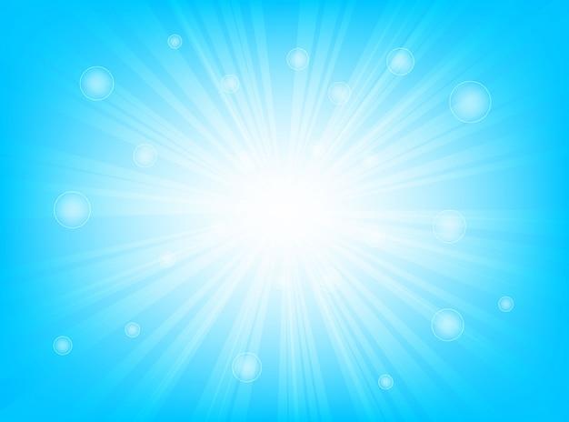 Blu luminoso dello sprazzo di sole e bokeh con i raggi d'ardore di fondo astratto leggero