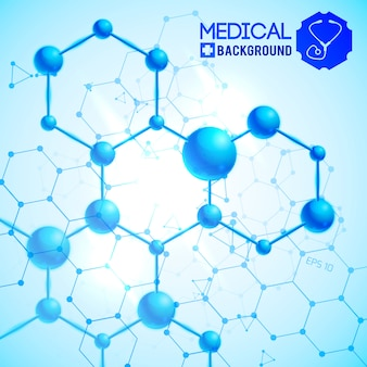 Blu medico con illustrazione realistica di simboli di scienza e medicina