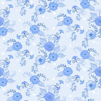 Blu modello senza saldatura con fiori e foglie