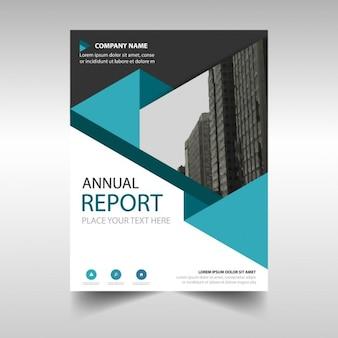 Blu poligonale modello di copertina relazione annuale