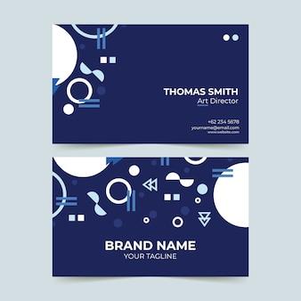 Blu scuro con modello di biglietto da visita di forme bianche