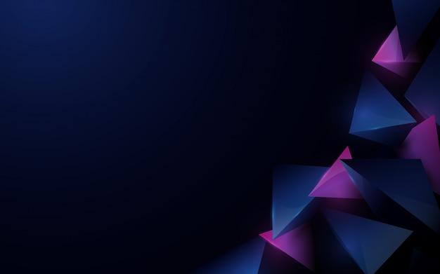 Blu scuro di lusso poligonale astratto 3d con fondo porpora