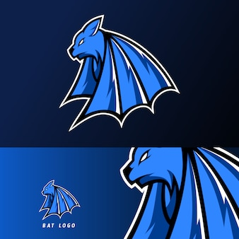 Blu scuro pipistrello vampiro mascotte sport gioco esport logo modello per squadra di gioco squadra