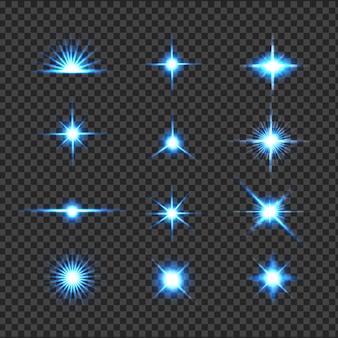 Blue glowing brilla di luce, riflesso lente, esplosione, glitter, linea, sole, scintilla e stelle