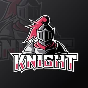 Blue knight sport esport logo design template con armatura e casco