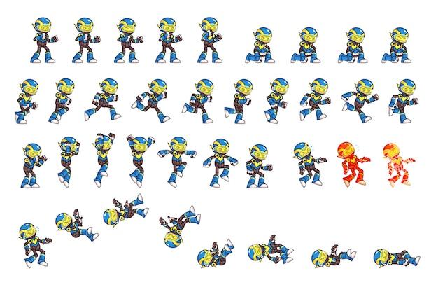 Blue robot game sprites