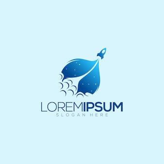 Blue rocket awesome logo premium