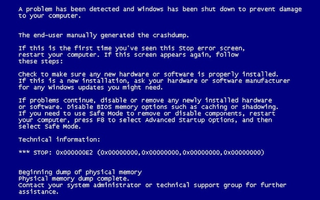 Blue screen of death (bsod).
