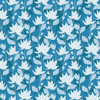 Blue water lily pattern design