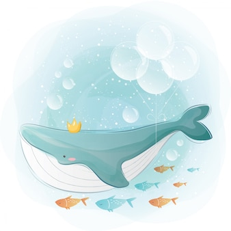 Blue whale and the little friends