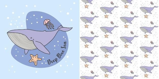Blue whale, jelly fish nel modello senza cuciture del mare blu