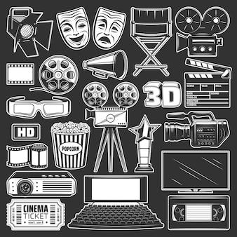 Bobina di cinema, film e film, popcorn, occhiali 3d