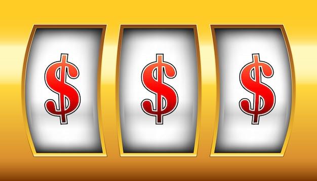 Bobina di gioco, slot machine del casinò, grande vittoria, 777.