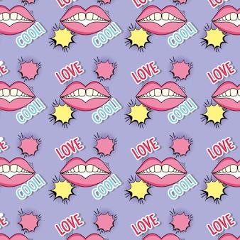 Bocca patch con bolla di chat e lo sfondo del messaggio d'amore