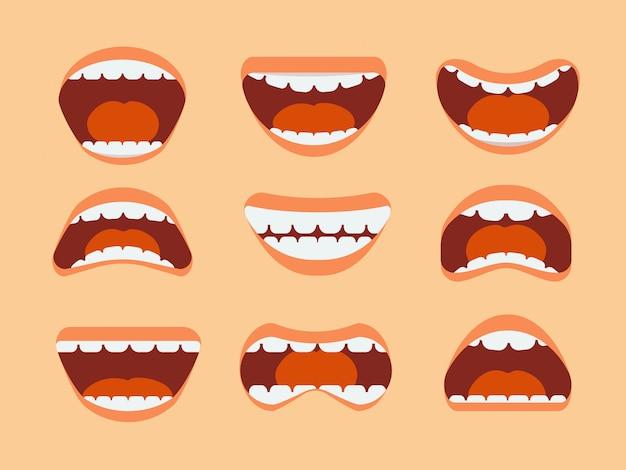 Bocca umana, denti e lingua divertenti del fumetto con differenti espressioni messe isolate