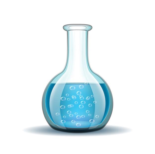 Boccetta trasparente del laboratorio chimico con liquido blu isolato su bianco.