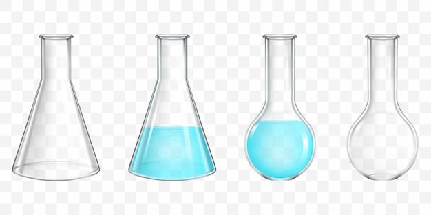 Boccette del laboratorio con il vettore realistico dell'acqua blu