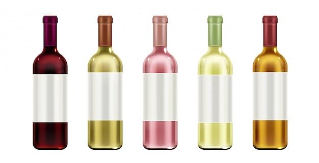 Boccette di vetro con etichetta vuota e sughero per bevande a base di alcool rosso, bianco e rosa