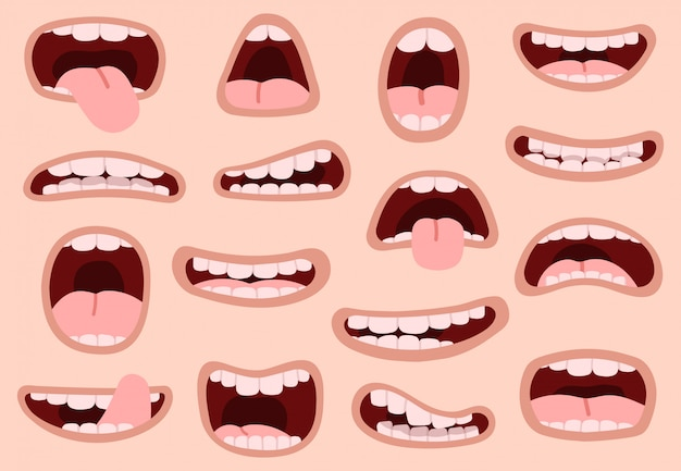 Bocche divertenti cartoni animati. bocca disegnata a mano comica, espressioni facciali artistiche sorridenti, insieme di simboli dell'illustrazione di emozioni delle labbra di caricatura. smorfia artistica e caricatura bocca positiva