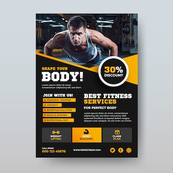 Body building design sportivo poster