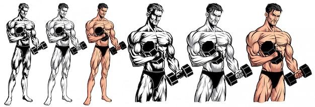 Bodybuilder maschio corpo pieno con manubri