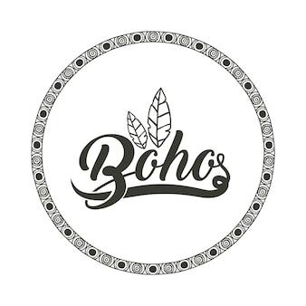 Boho e piuma all'interno dell'icona del cerchio