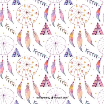 Boho pattern con acchiappasogni acquerello