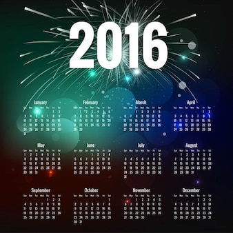 Bokeh 2016 calendario con i fuochi d'artificio