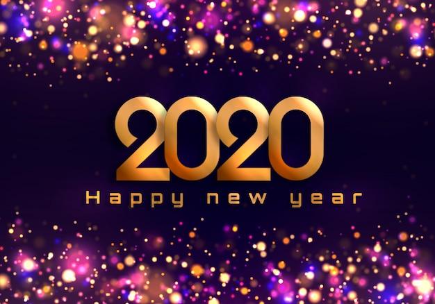 Bokeh scintilla sfondo natale 2020, luci di capodanno.