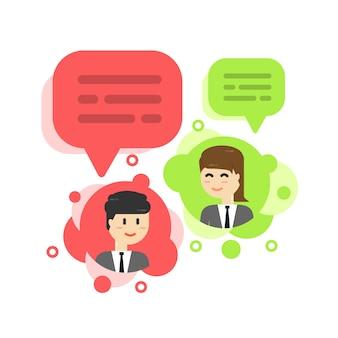 Bolla di chat uomo d'affari, discutere social network, notizie