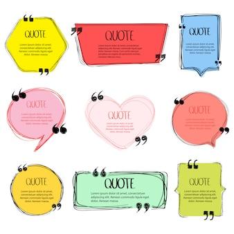 Bolla di discorso fatta a mano. cornice di citazione, grande set. citazioni di testo a mano libera. modelli di casella di testo colorata vuota, bolla di citazione, simboli di citazione