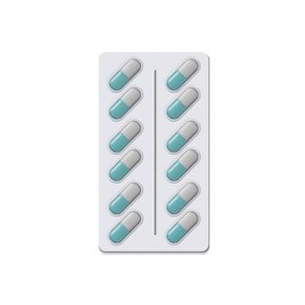 Bolla realistica delle pillole con le capsule su fondo bianco.