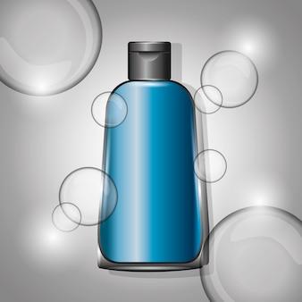 Bolle cosmetiche bottiglia di plastica blu sfocatura dello sfondo