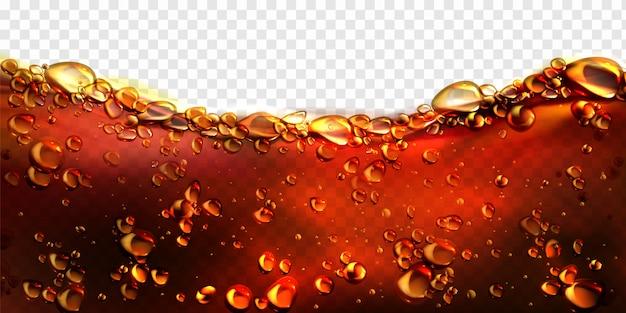 Bolle d'aria cola, bevanda gassata, sfondo di birra