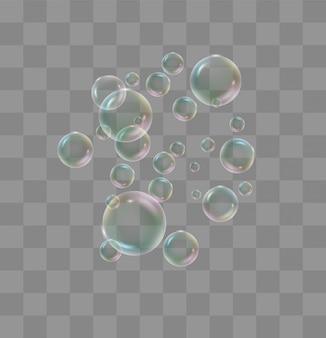 Bolle di acqua bianca con riflessione impostata su trasparente