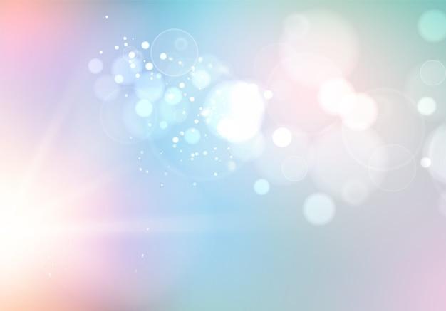 Bolle di bokeh e sole lampeggiano su sfondo blu
