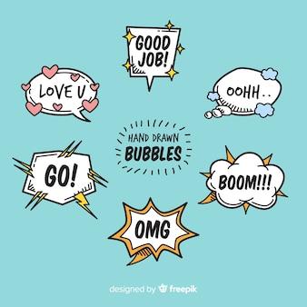 Bolle di chat del fumetto con varietà di messaggi